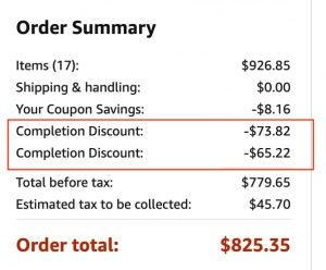 Cart with completion discounts