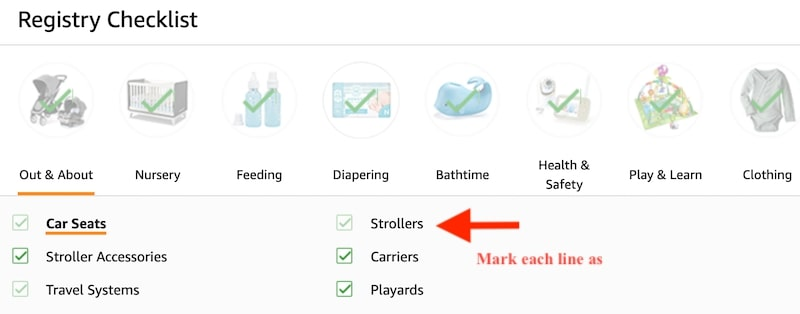 Mark complete all items in Amazon Registry Checklist to get welcome box